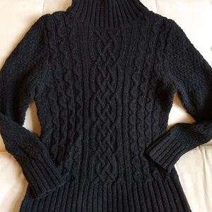 Sweater Wool Eddie Bauer Medium Tall Cable Knit